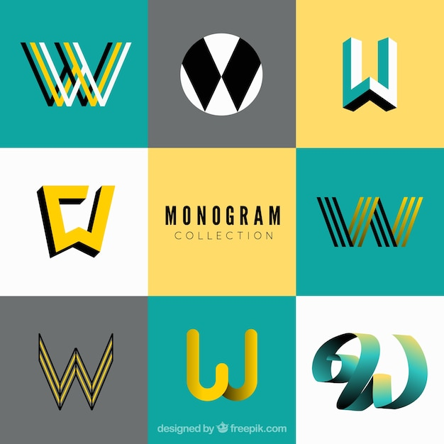 Set of monograms in modern style