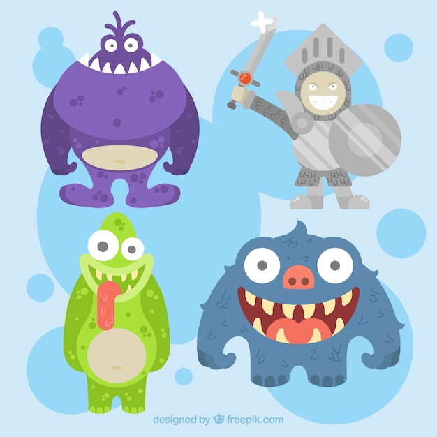 Set of monsters and armor knight in flat design Free Vector