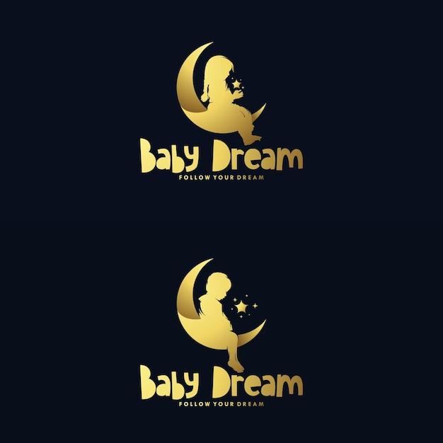 달과 꿈꾸는 아기 로고 디자인 세트 프리미엄 벡터