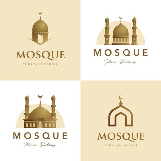 Набор мечети логотипа исламского символа золота Premium векторы