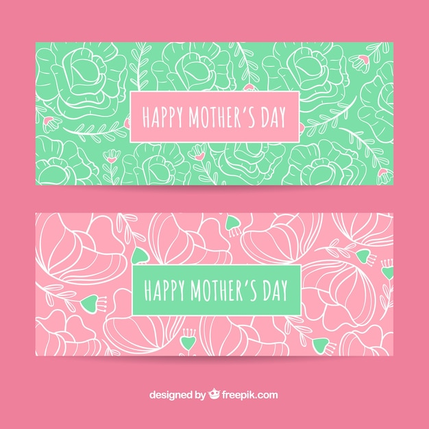 Set of mother\'s day banners with flowers