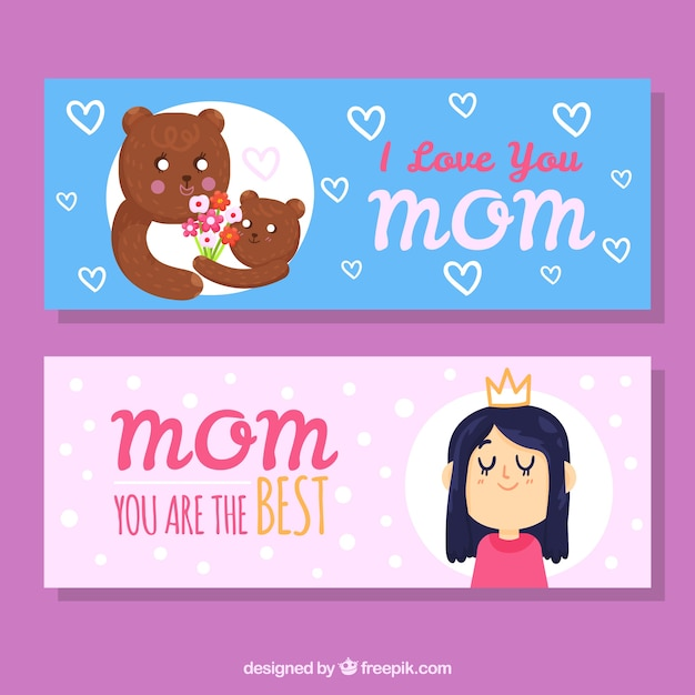 set of mother s day banners with girl and cute bears vector free