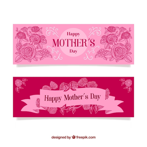 Set of mother\'s day banners with roses