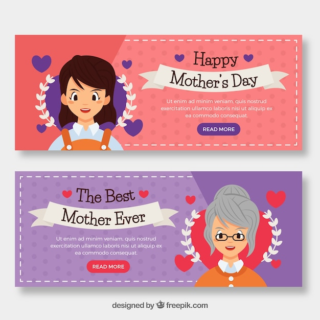 Set of mother\'s day banners with women
