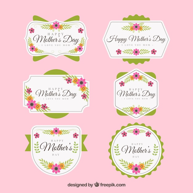 Set of mother's day labels with flowers Free Vector