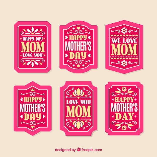 Set of mother's day labels with typography Free Vector