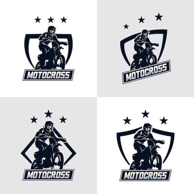 Набор значков логотипа мотокросса фристайл Premium векторы