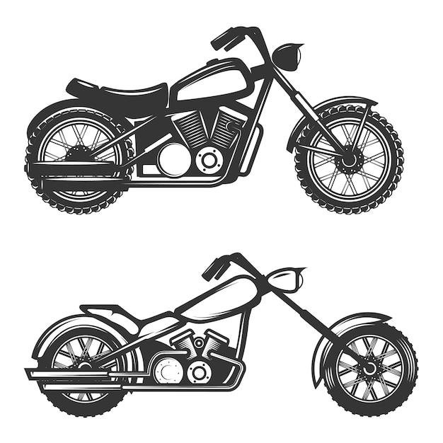 Набор иконок мотоциклов на белом фоне. элемент для логотипа, этикетки, эмблемы, знака, торговой марки. Premium векторы