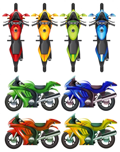 Set of motorcycle in many colors\ illustration