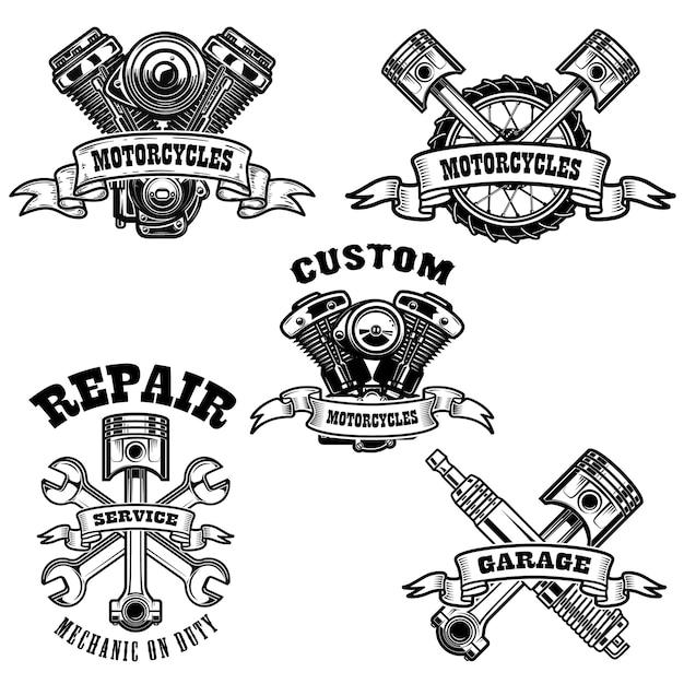 Набор эмблем ремонта мотоциклов Premium векторы