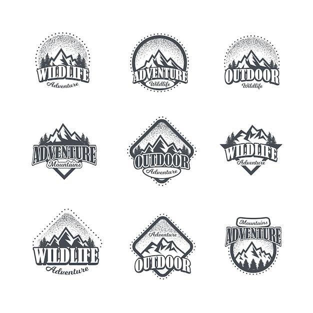 Набор логотипов горных и наружных приключений Premium векторы