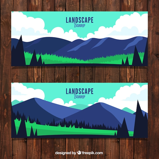 Set of mountain landscape banners with\ trees
