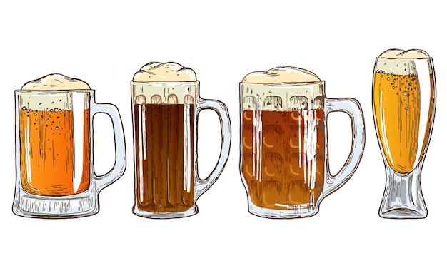 Набор кружек пива. красочный эскиз иллюстрации пива. Premium векторы
