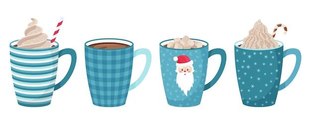 커피, 차, 코코아, 마시멜로, 짚, 휘핑 크림과 장식용 토핑이 들어간 머그 세트. 블루 톤. 플랫 스타일. 프리미엄 벡터