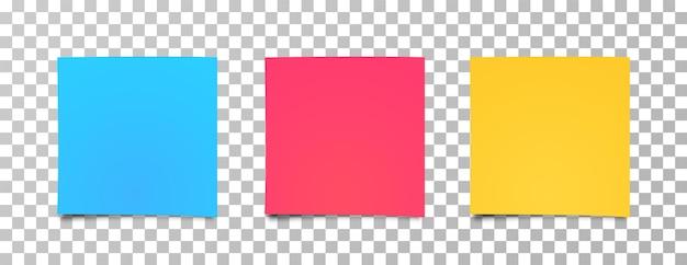 멀티 컬러 스티커 세트입니다. 현실적인 스티커 메모 용지, 귀하의 메시지에 대 한 준비. 참고 용지의 다른 색깔의 시트입니다. 프리미엄 벡터