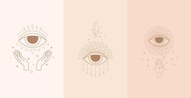 女性の手で神秘的な目のセット。自由奔放に生きるスタイルのイラスト Premiumベクター