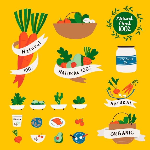 Set of natural and organic food badges vector Free Vector