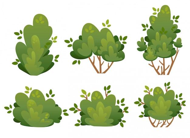 흰색 배경 웹 사이트 페이지 및 모바일 앱에 공원 별장과 마당 그림에 대한 자연 덤불과 정원 나무 세트 프리미엄 벡터