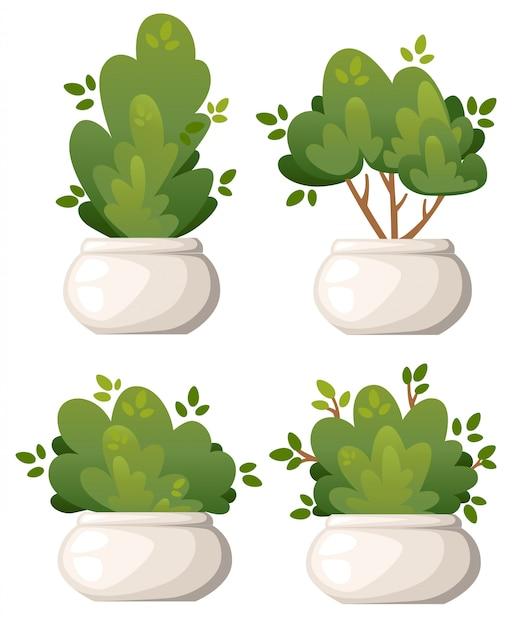 흰색 배경 웹 사이트 페이지 및 모바일 앱에 공원 별장과 마당 그림 흰색 꽃병에 자연 부시와 정원 나무의 집합 프리미엄 벡터
