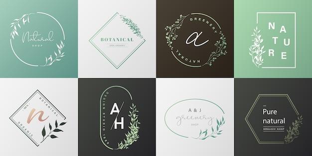 브랜딩, 기업의 정체성, 포장 및 명함에 대 한 자연 로고의 집합입니다. 무료 벡터