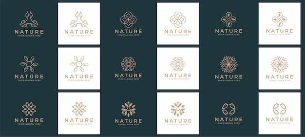 自然とスパのロゴのセット Premiumベクター