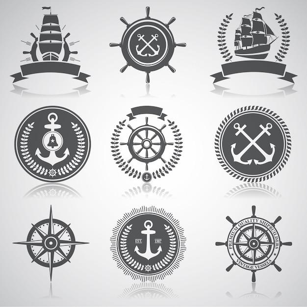 Набор морских эмблем, этикеток и обозначенных элементов, Бесплатные векторы