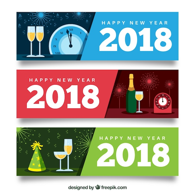 set of new year 2018 banners free vector