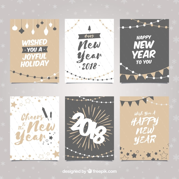 Set of new year cards in neutral colours Vector | Free Download