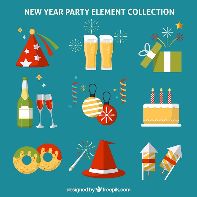 Set of new year elements in flat design Free Vector