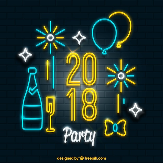 Set of new year party elements Free Vector