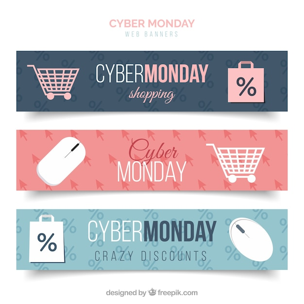 Set of nice banners with cyber monday discounts