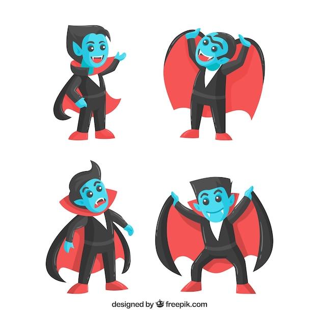 Set of nice blue vampires