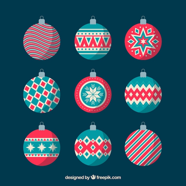 Set of nice christmas balls in flat design Free Vector