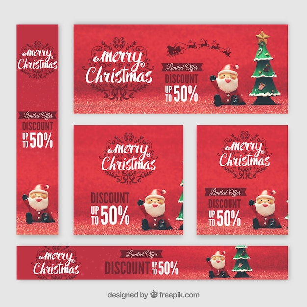 Set of nice christmas banners with santa claus