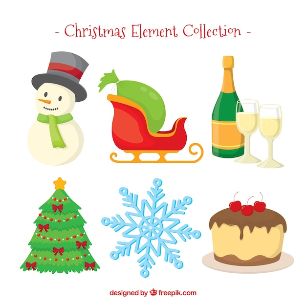 Set of nice christmas elements Vector | Free Download