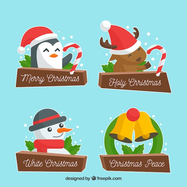 Set of nice christmas stickers with characters