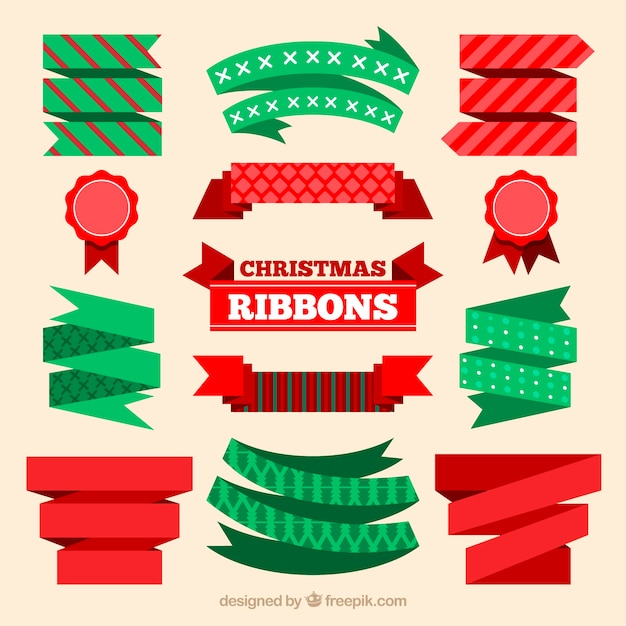 Set of nice decorative christmas ribbons in flat design