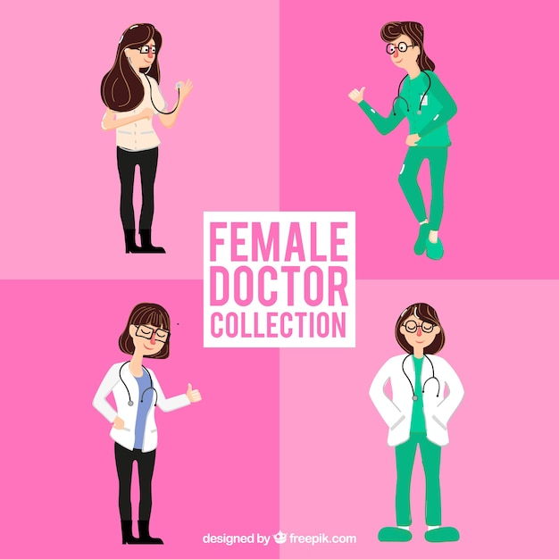 Set of nice female hand drawn medical characters