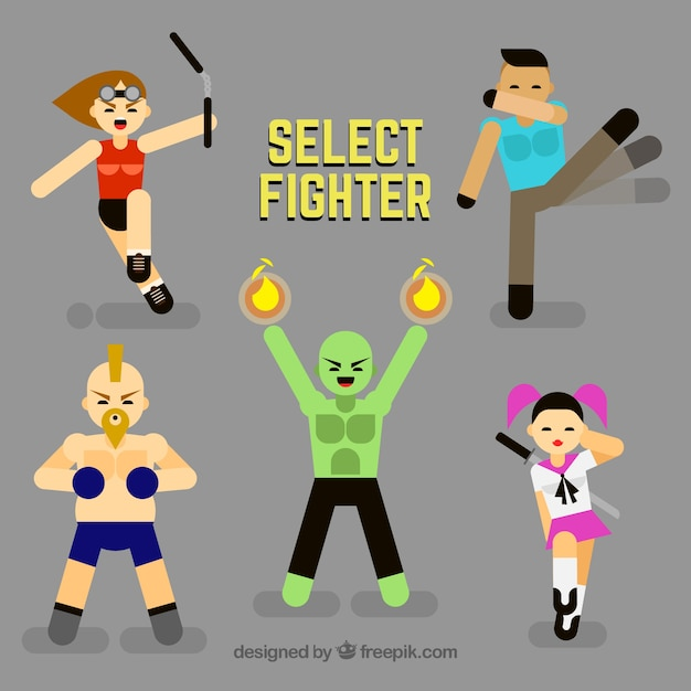 Set of nice fighting characters