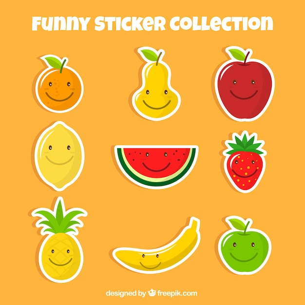 Set of nice fruit stickers