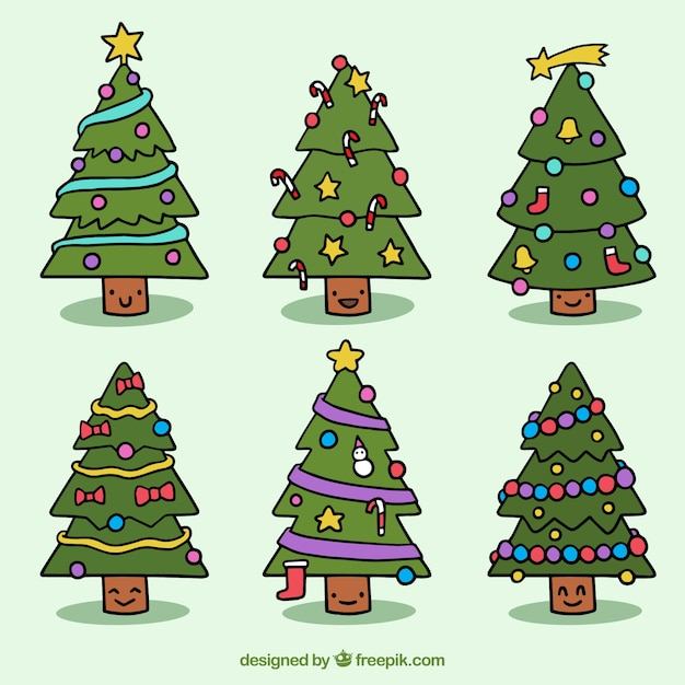 set of nice hand drawn christmas trees