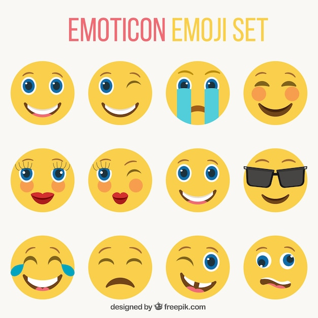 Set of nice smileys in flat style Free Vector