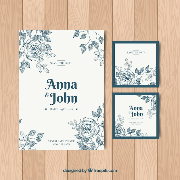 Set Of Nice Wedding Invitations In Vintage Style Free Vector