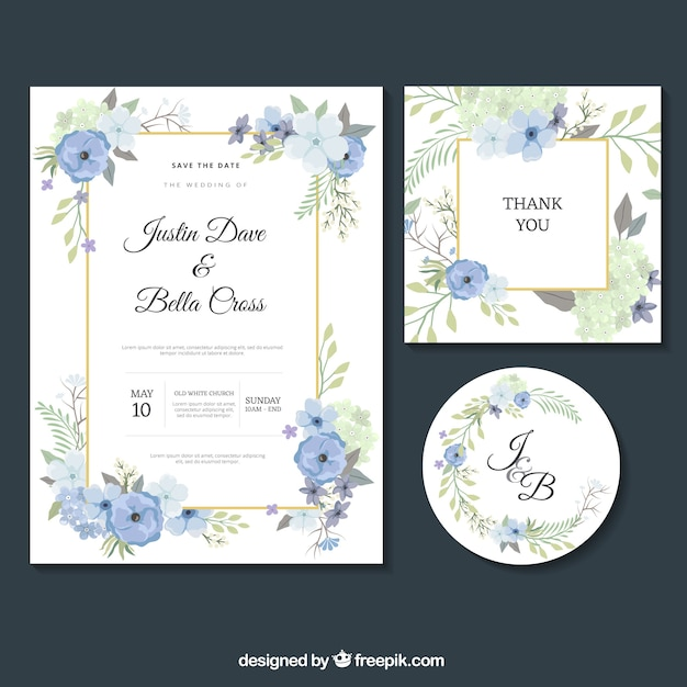 Set of nice wedding invitations Free Vector