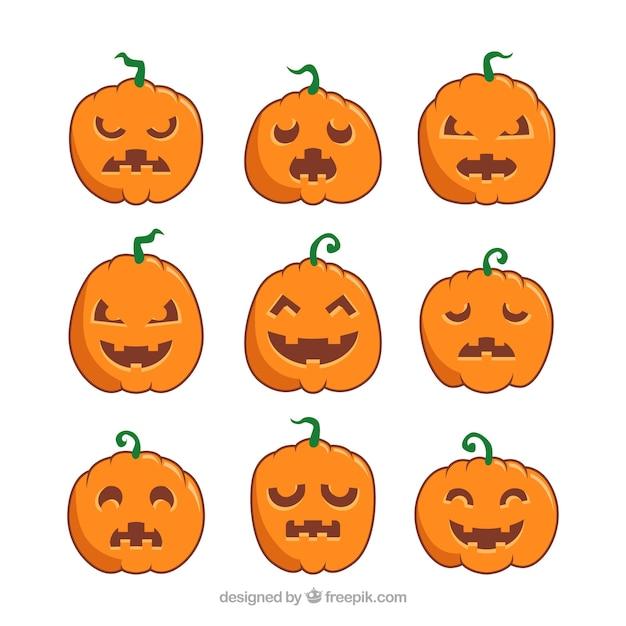 Набор из девяти вариаций тыквы хэллоуина в плоском дизайне Бесплатные векторы