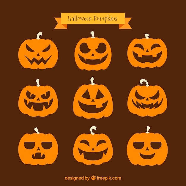 Set of nine various pumpkins Free Vector