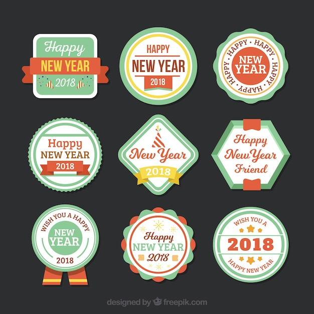 Set of nine vintage new year 2018 badge collection