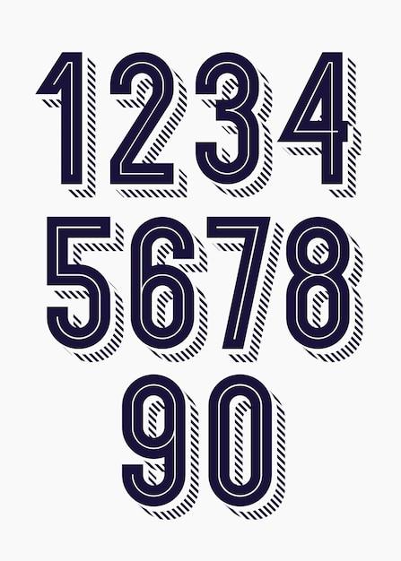 Набор чисел 3d смелый модный стиль типографии Premium векторы