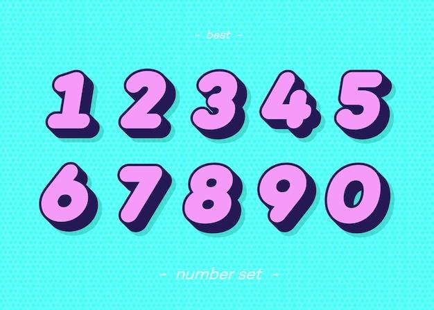 Набор чисел 3d смелая типография красочный стиль Premium векторы