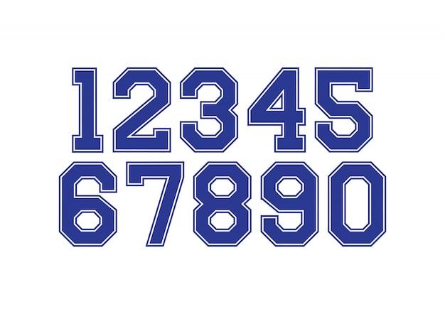 青と白のタイポグラフィデザイン要素を持つ数字のセット Premiumベクター
